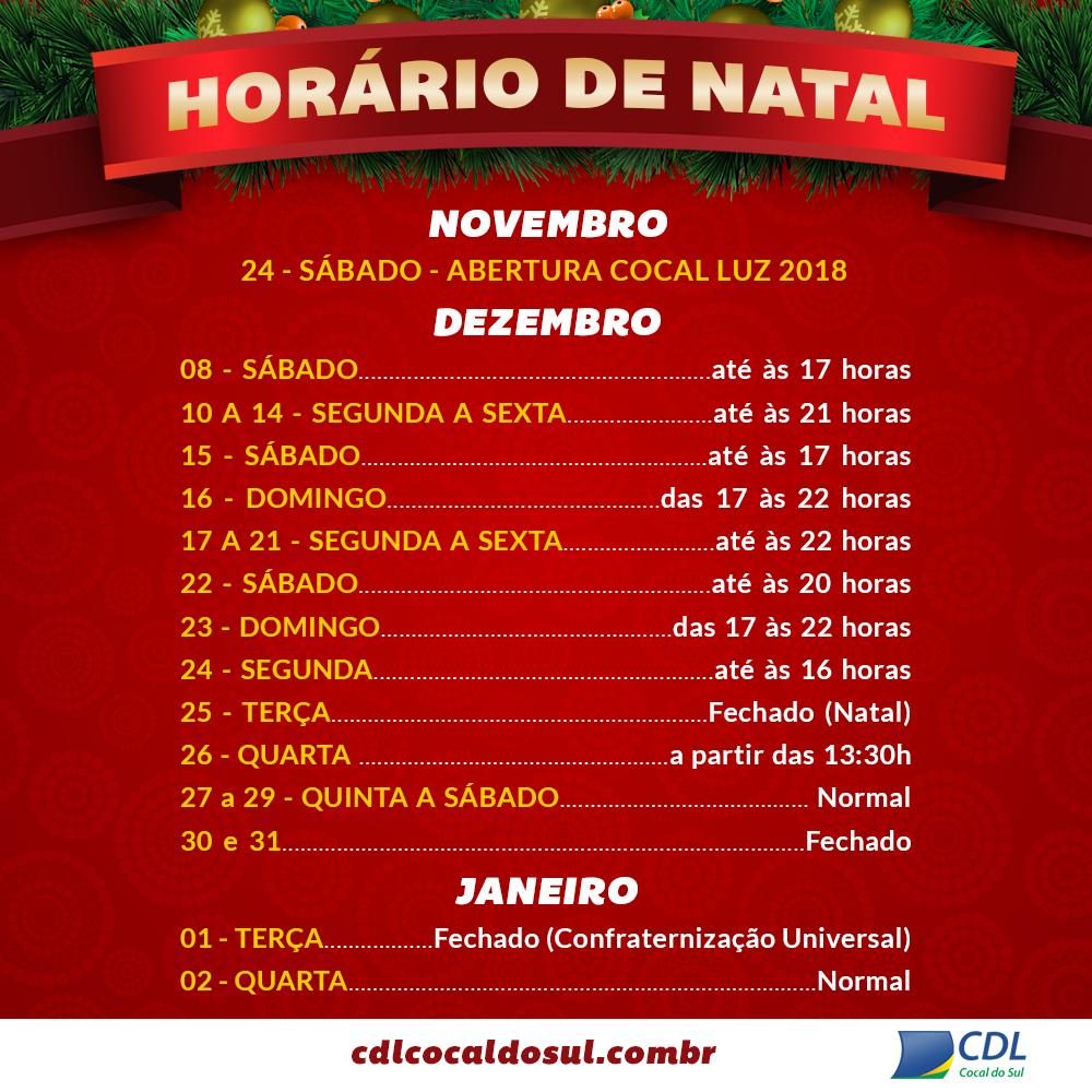 HORARIO ESPECIAL DE NATAL